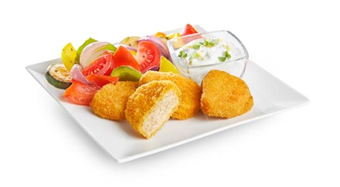 Valess Valess Nuggets mit Ofengemüse und Joghurt-Dip